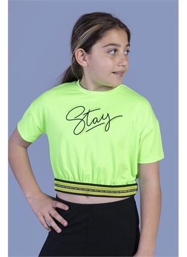 Toontoy Kids Toontoy Kız Çocuk Şerit Detaylı Baskılı Tişört Yeşil